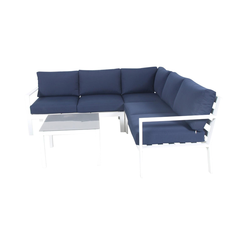 Salon de jardin design 5 places bleu marine en aluminium blanc