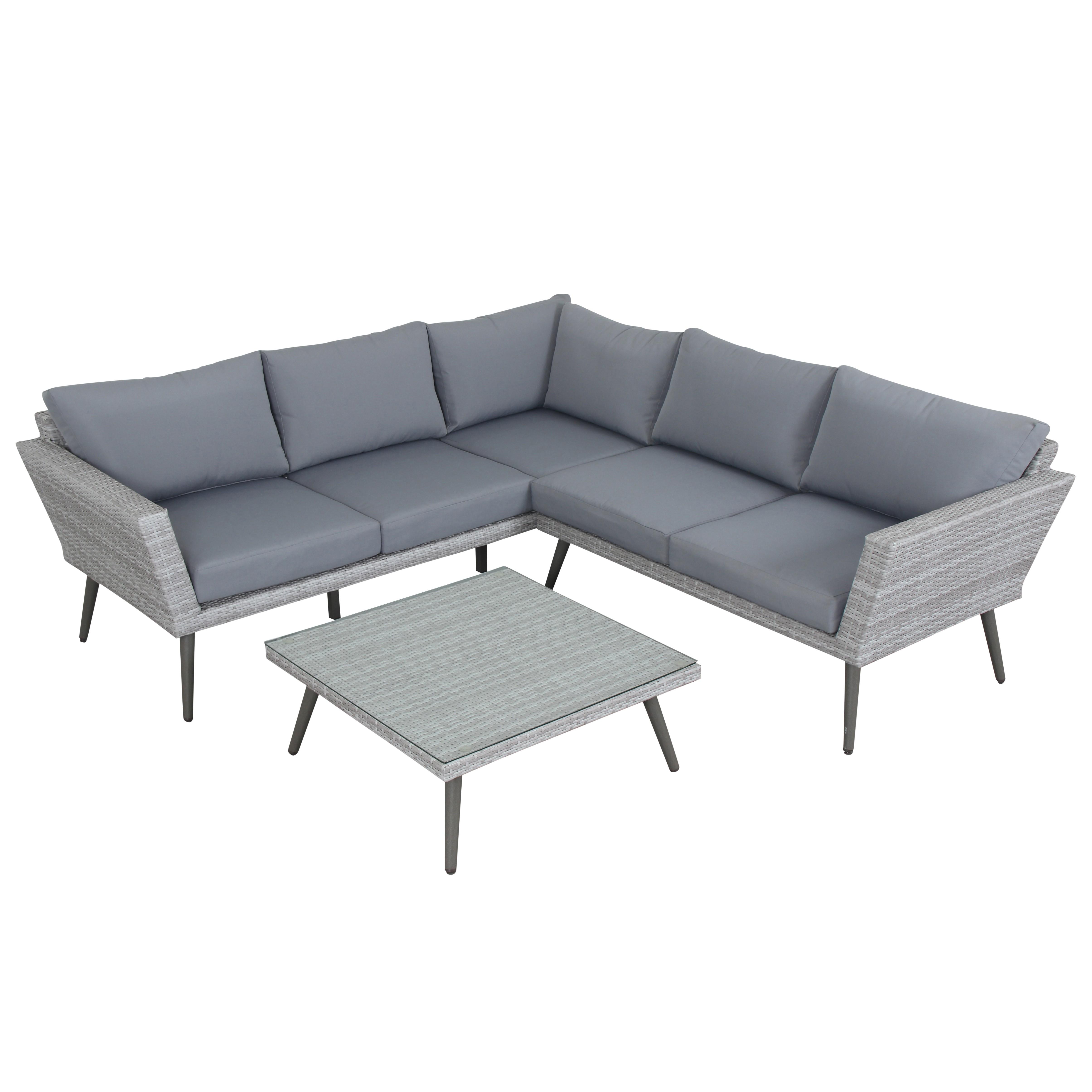 Salon de jardin 5 places en aluminium et résine tressée gris