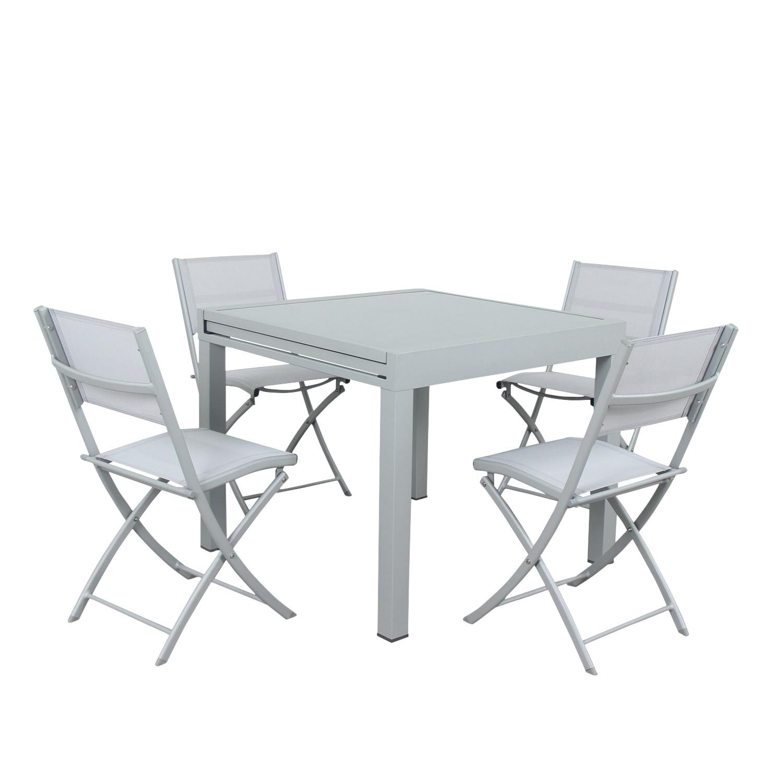 Table de jardin 4 places en aluminium argent