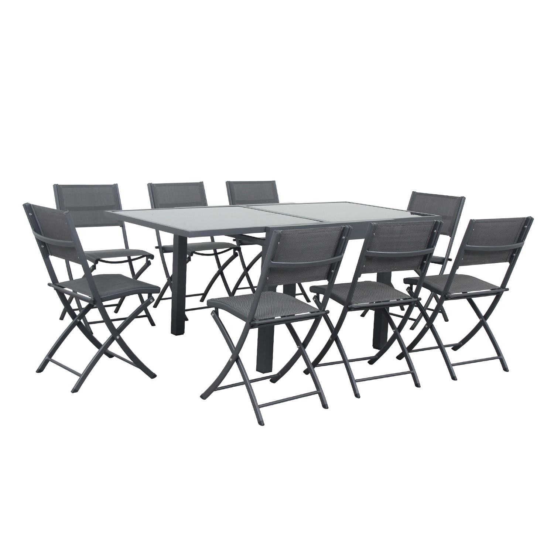 Table de jardin 8 places en aluminium anthracite
