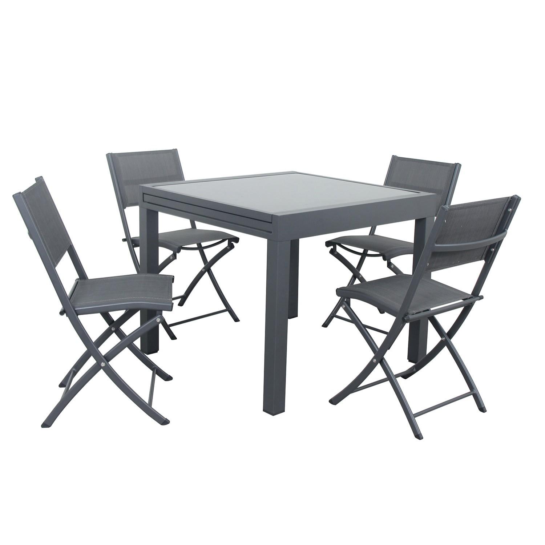 Table de jardin 4 places en aluminium anthracite