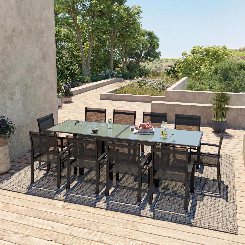 Table de jardin 10 places en aluminium noir