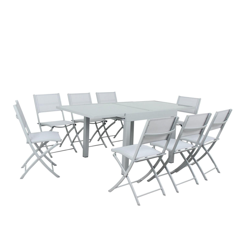Table de jardin 8 places en aluminium argent