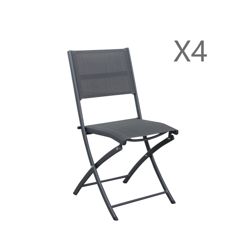 Lot de 4 chaises pliables en aluminium anthracite