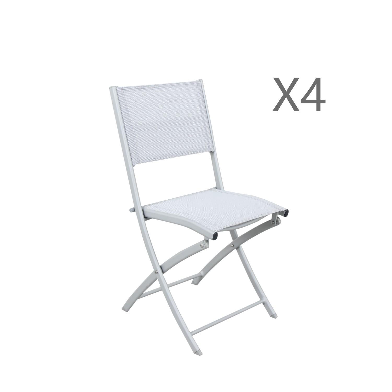 Lot de 4 chaises pliables en aluminium argent