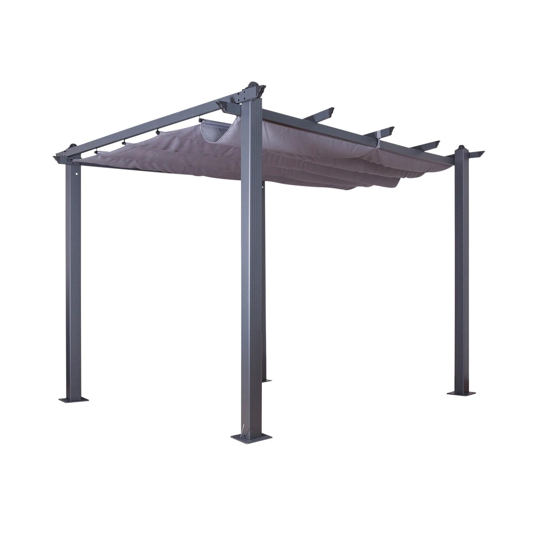 Tonnelle 3x3m avec toile rétractable en aluminium gris