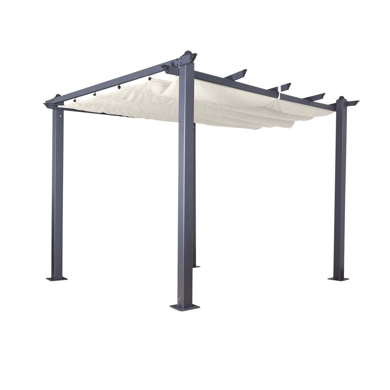 Tonnelle 3x3m avec toile rétractable écru en aluminium gris