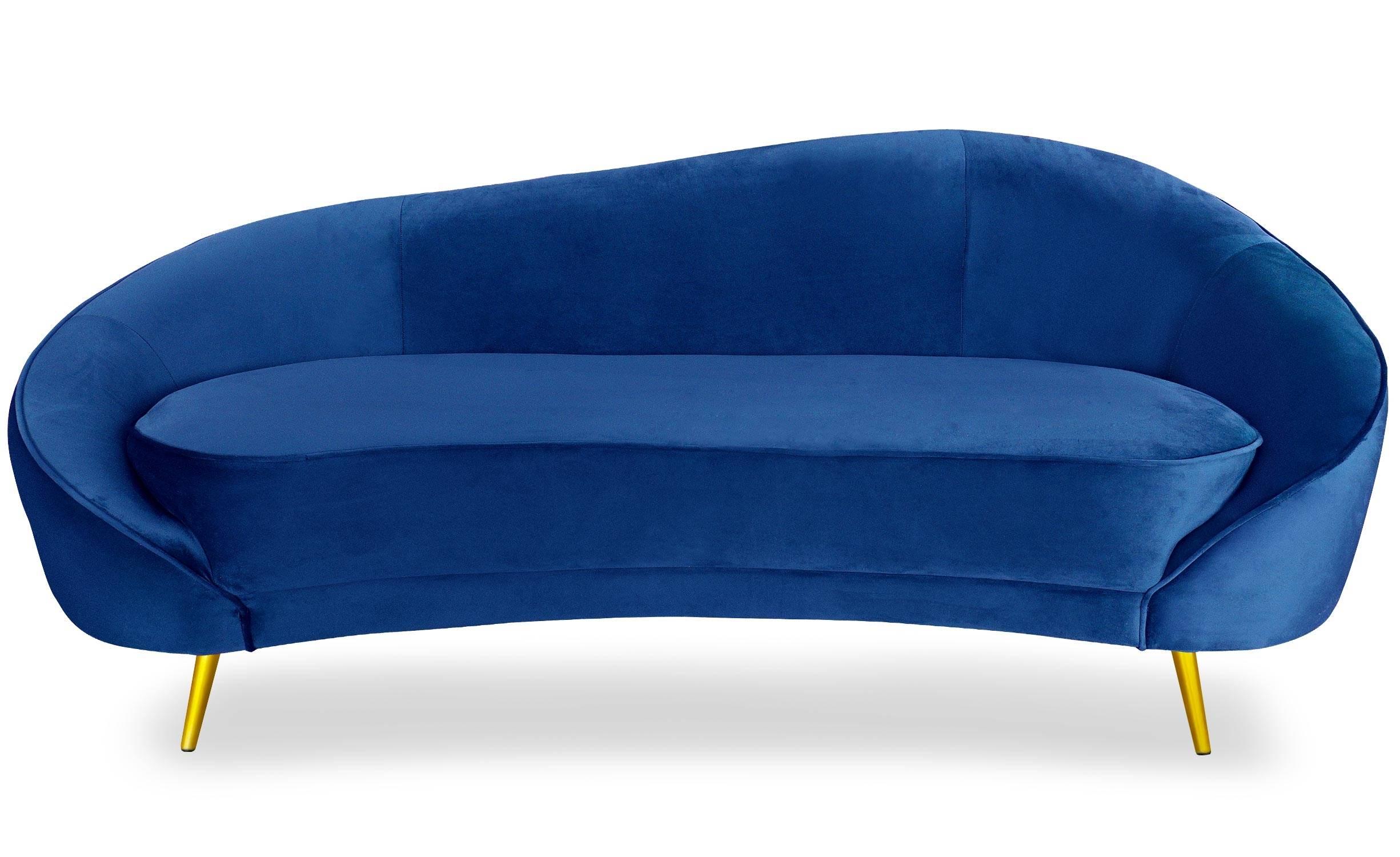 Canapé 3 places  velours bleu pieds or