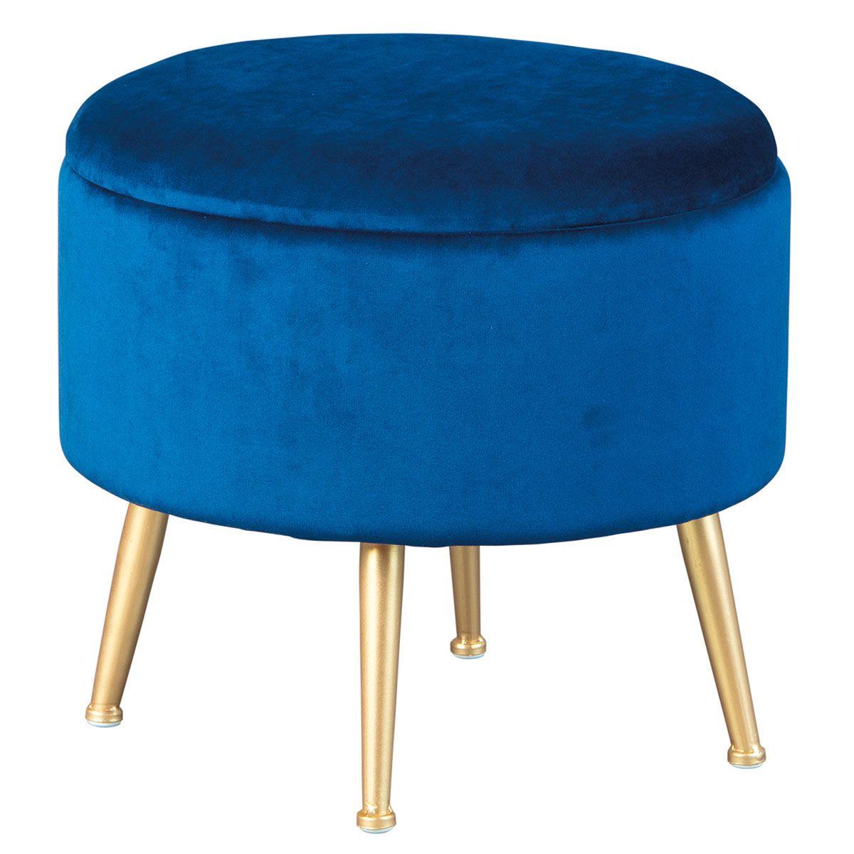 Pouf avec Coffre de Rangement Bleu Nuit