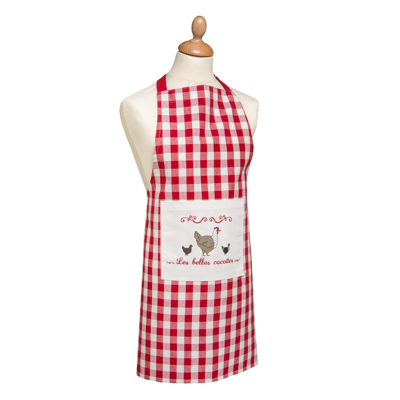 Tablier Les belles cocottes en coton rouge/ecru 80 x 85