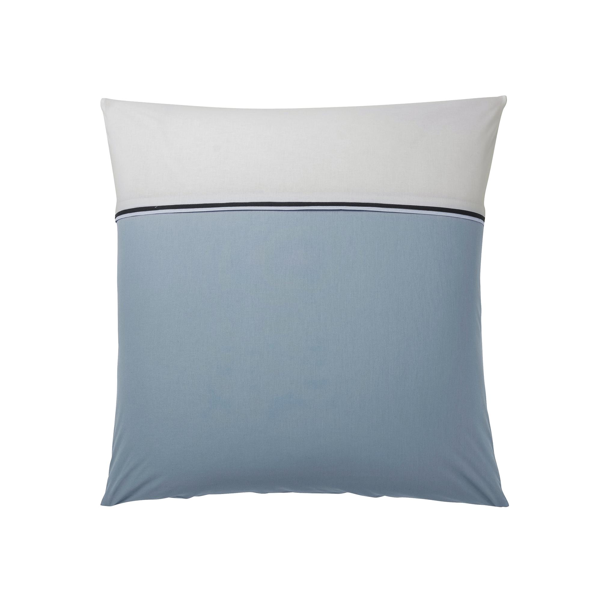 Taie d'oreiller en coton turquoise et blanc 63 x 63