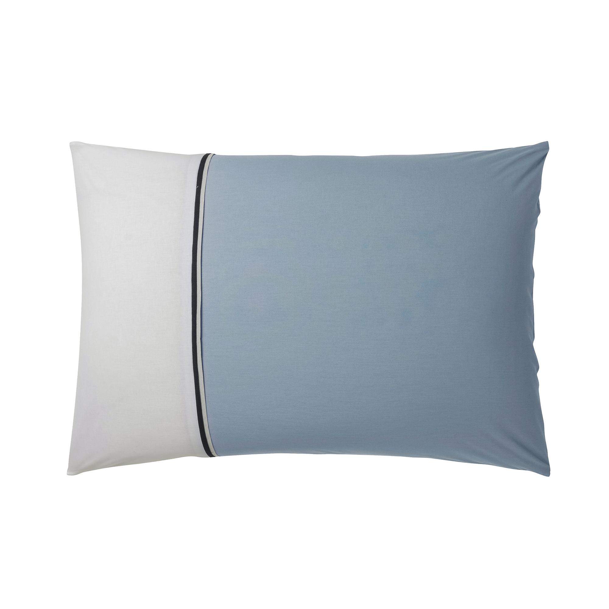Taie d'oreiller en coton turquoise et blanc 50 x 70