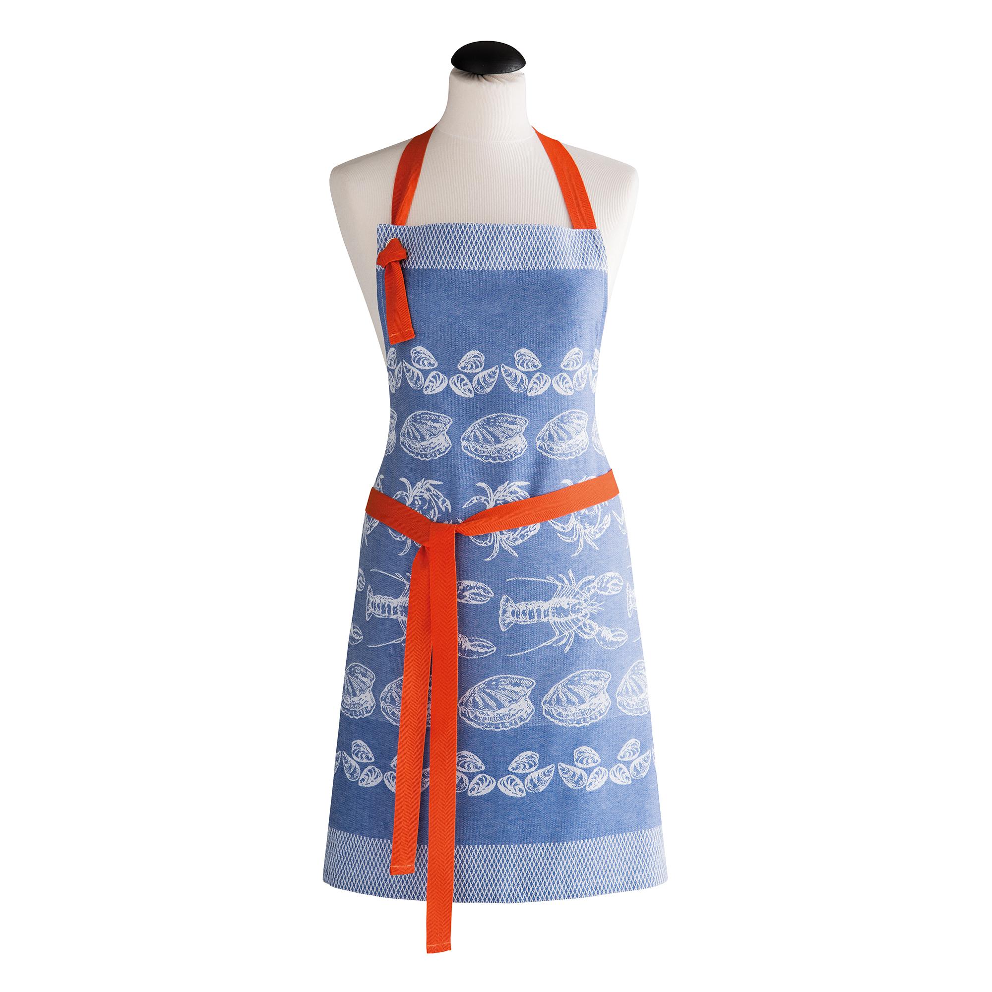 A LA PECHE - Tablier jacquard pur coton bleu en coton 70 x 82