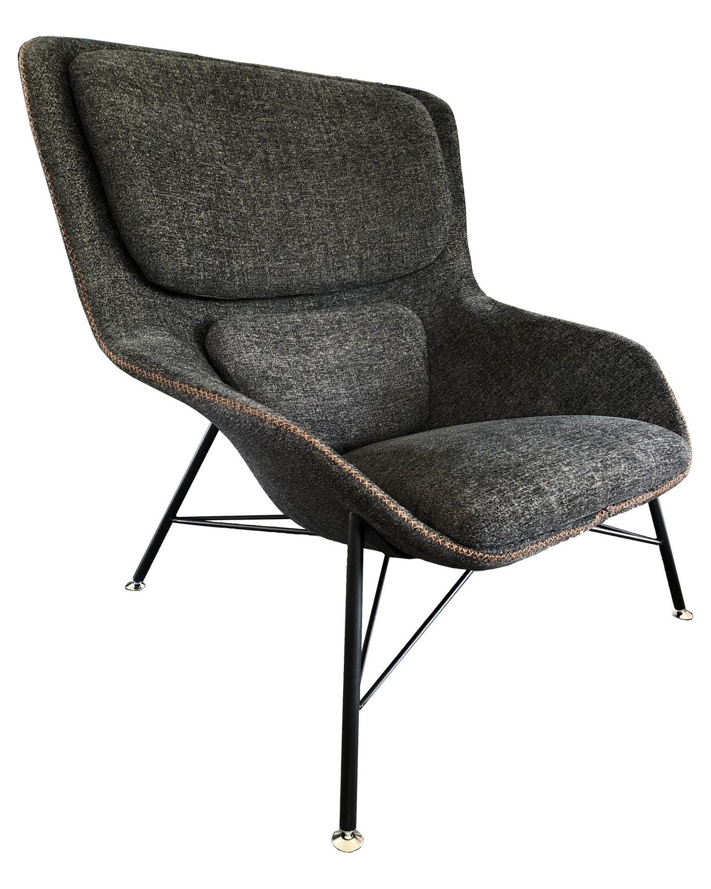 Fauteuil moderne en tissu gris et acier