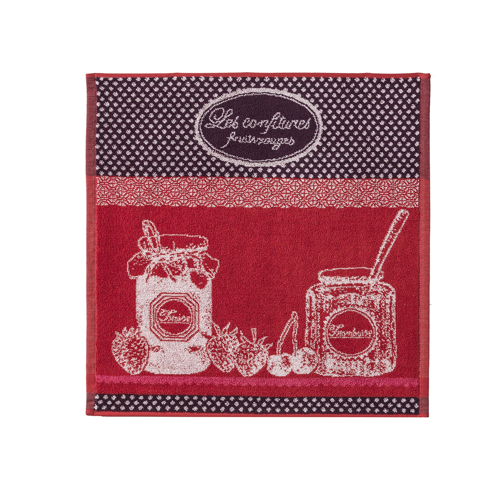 Carré éponge jacquard pur coton rouge 50 x 50