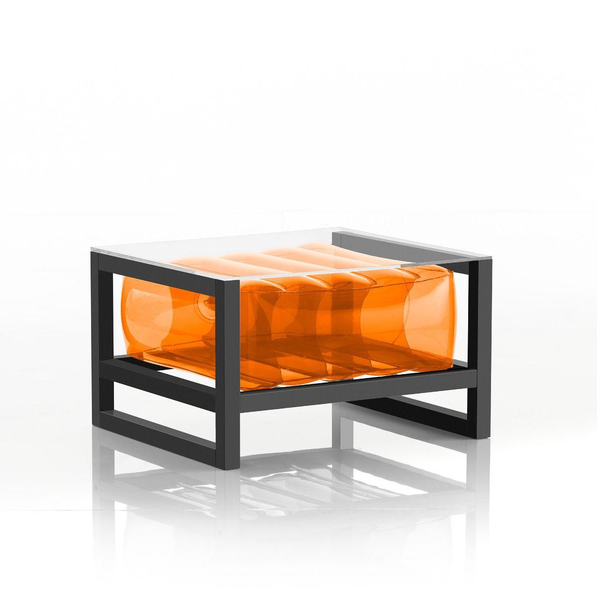Table basse pvc orange cadre en aluminium