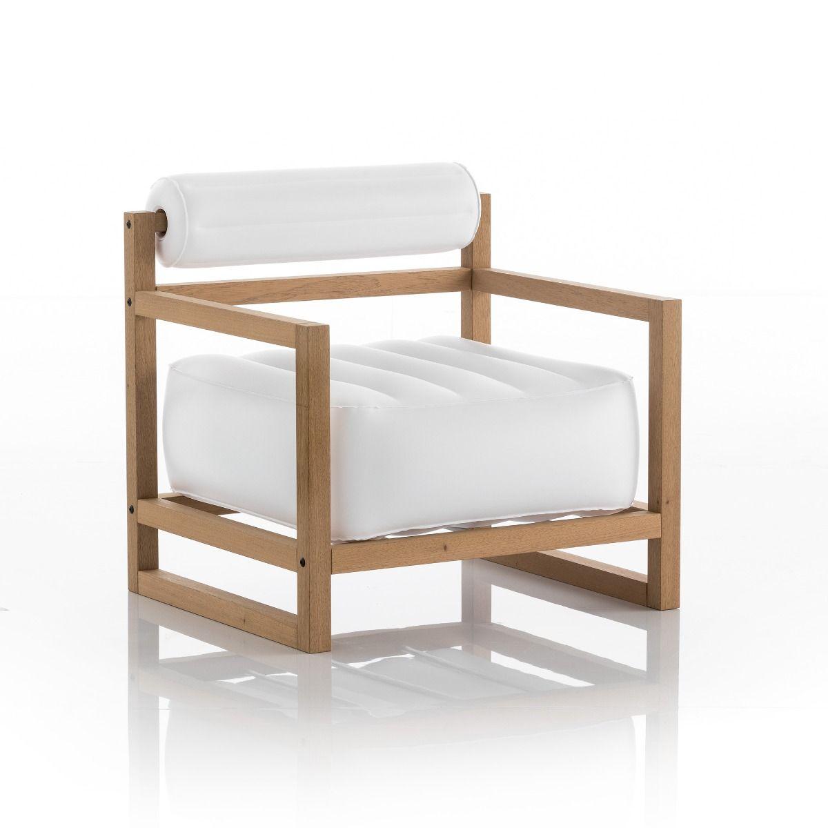 Fauteuil blanc opaque cadre bois