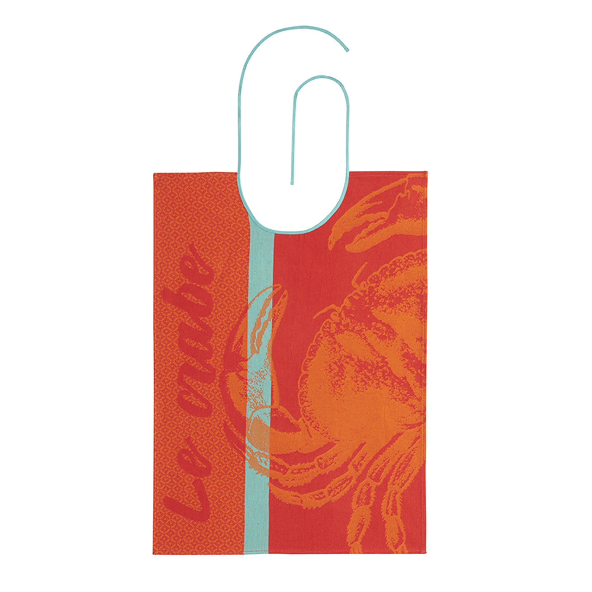 Bavoir en jacquard pur coton orange 60 x 43