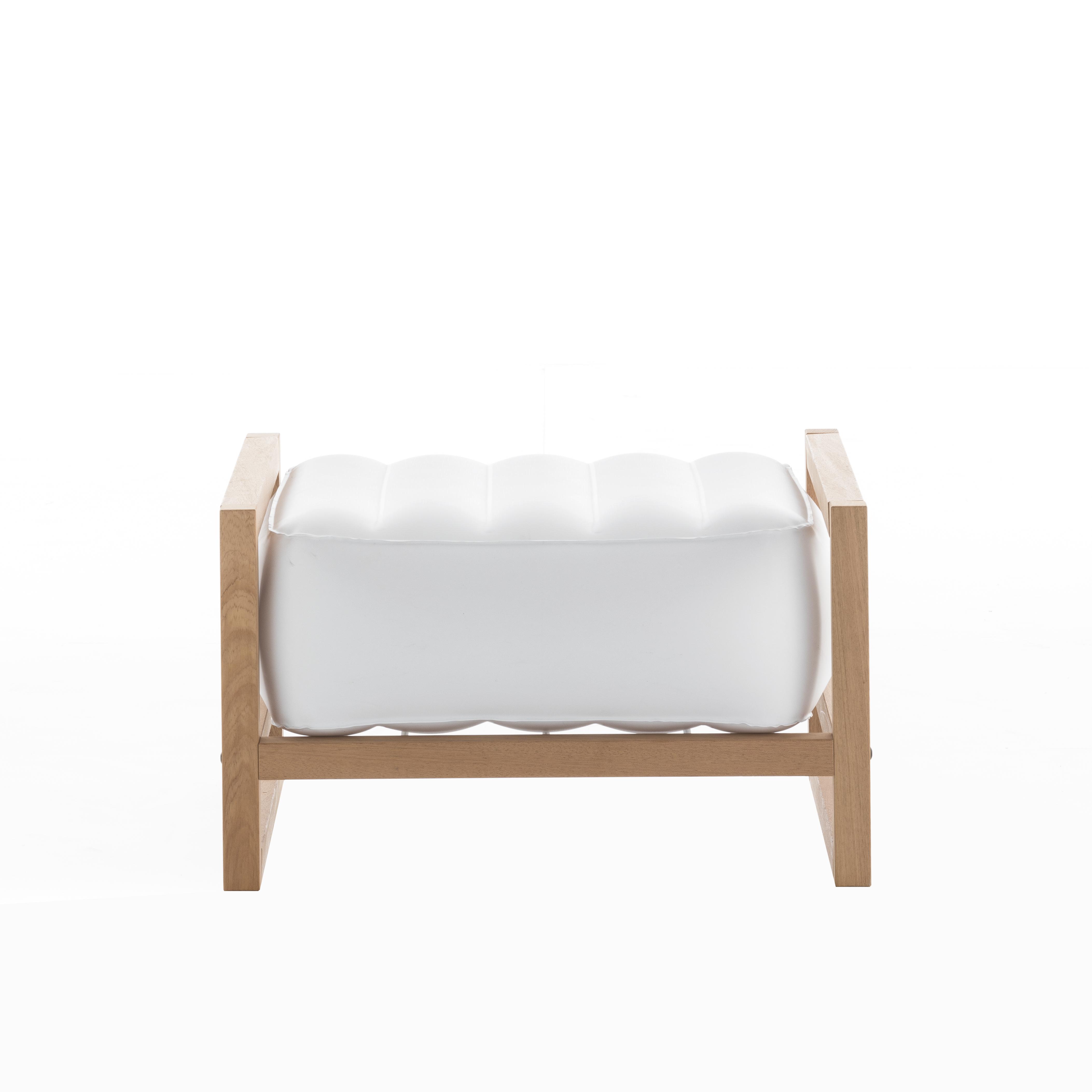Pouf pvc blanc cadre en bois