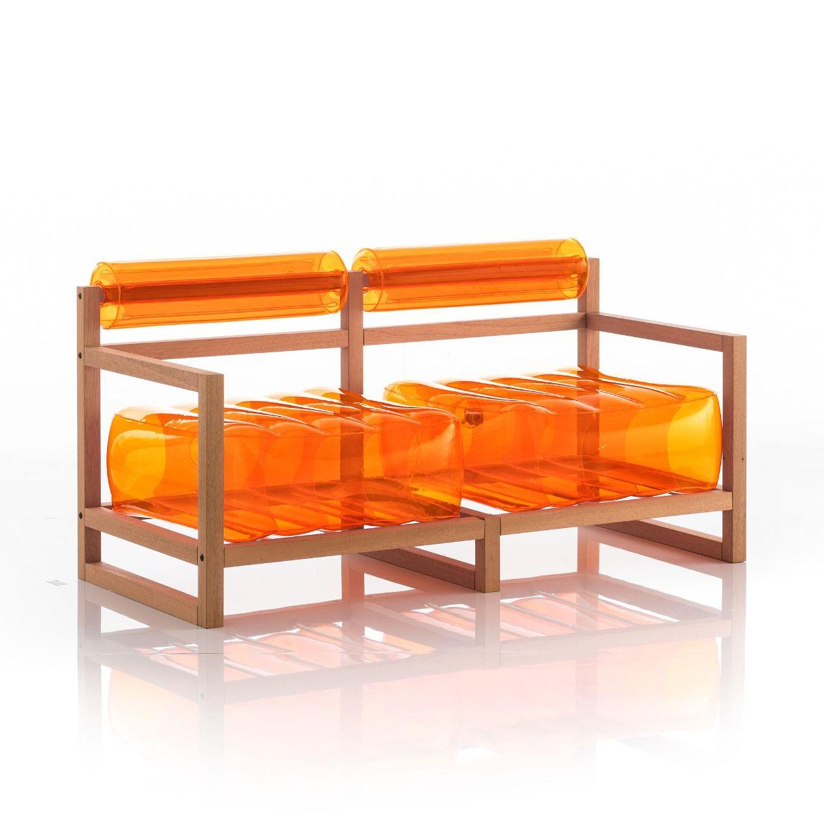 Canapé 2 places pvc orange cristal cadre en bois