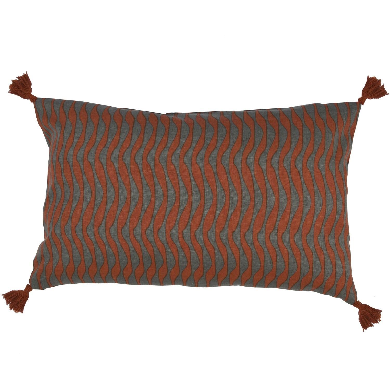 Housse de coussin en coton 50x30 Rouge brique et gris foncé