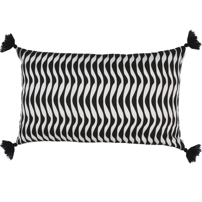 Housse de coussin en coton 50x30 Noir et Naturel