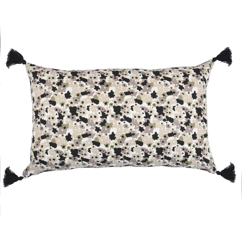 Housse de coussin en coton 50x30 Noir et blanc