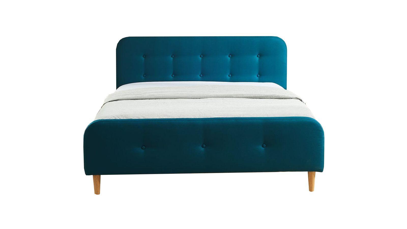 Lit bleu canard avec sommier à lattes et tête de lit 140x190