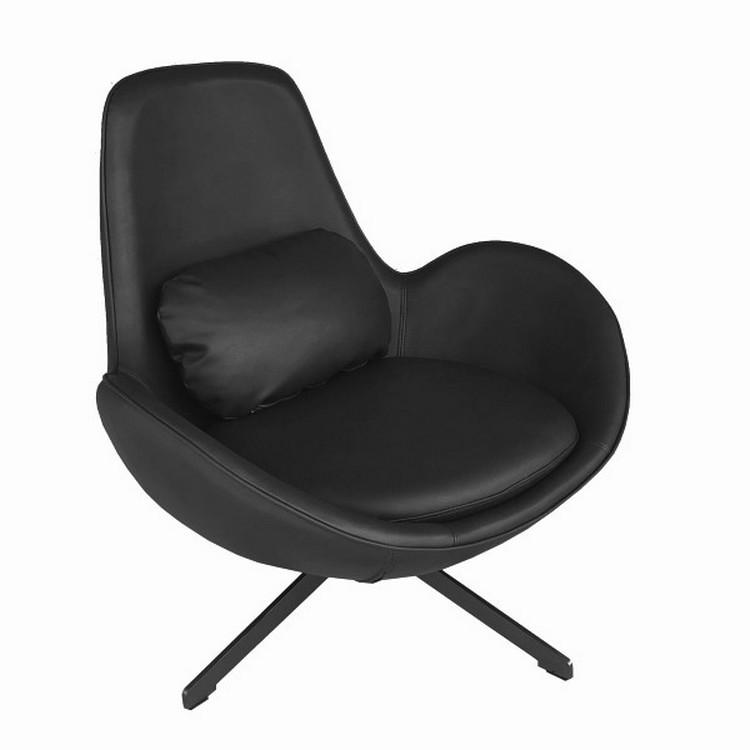 Fauteuil rotatif en aspect cuir noir