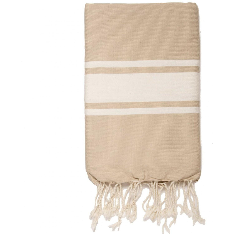 Fouta en coton bande blanche 100x200 Beige