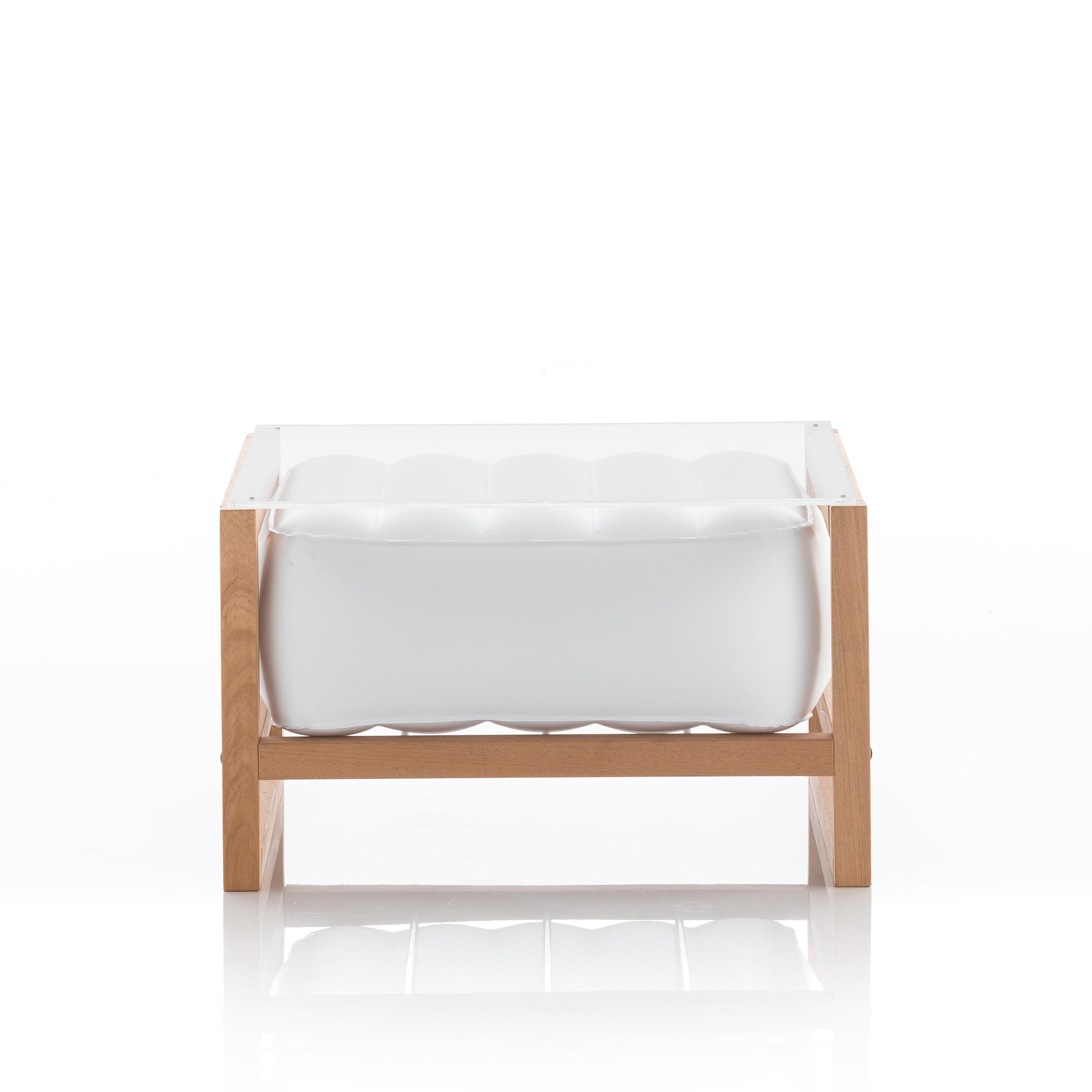 Table basse pvc blanche cadre en bois