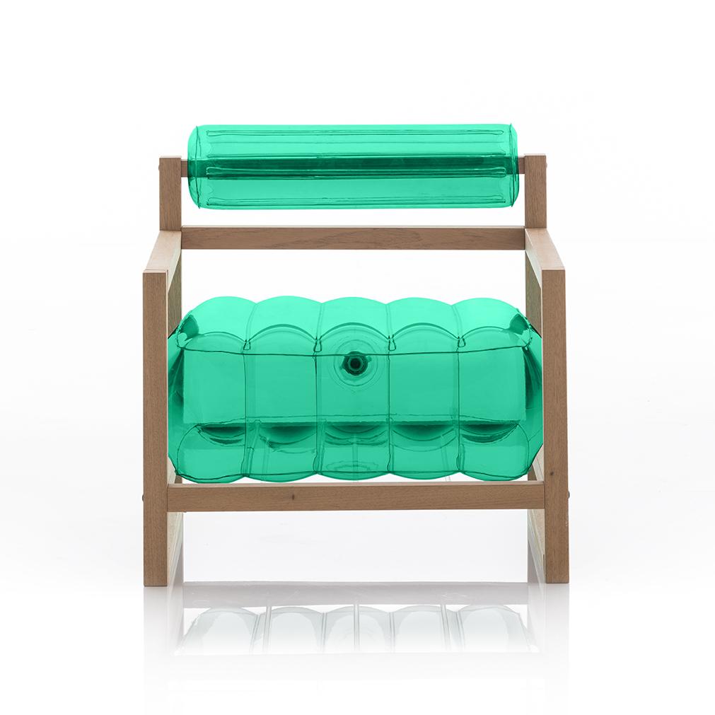 Fauteuil vert cristal cadre bois