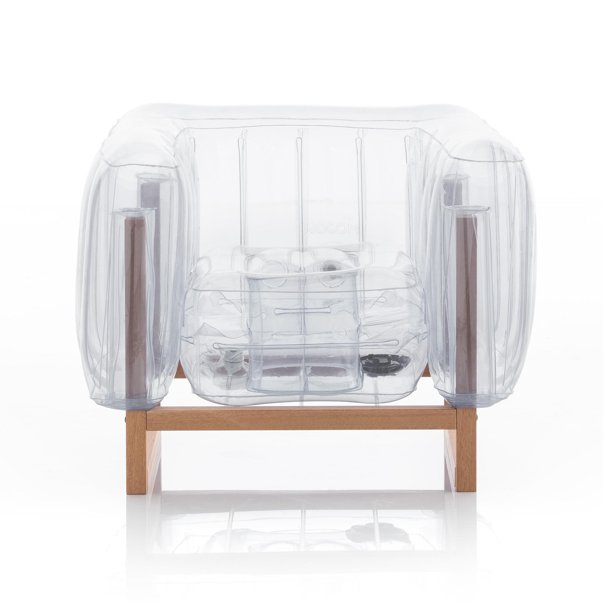Fauteuil pvc transparent cadre en bois