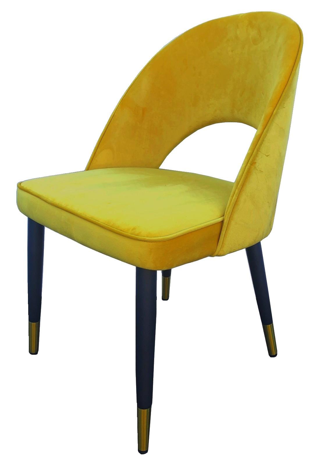 Chaise de salle a manger en velours jaune