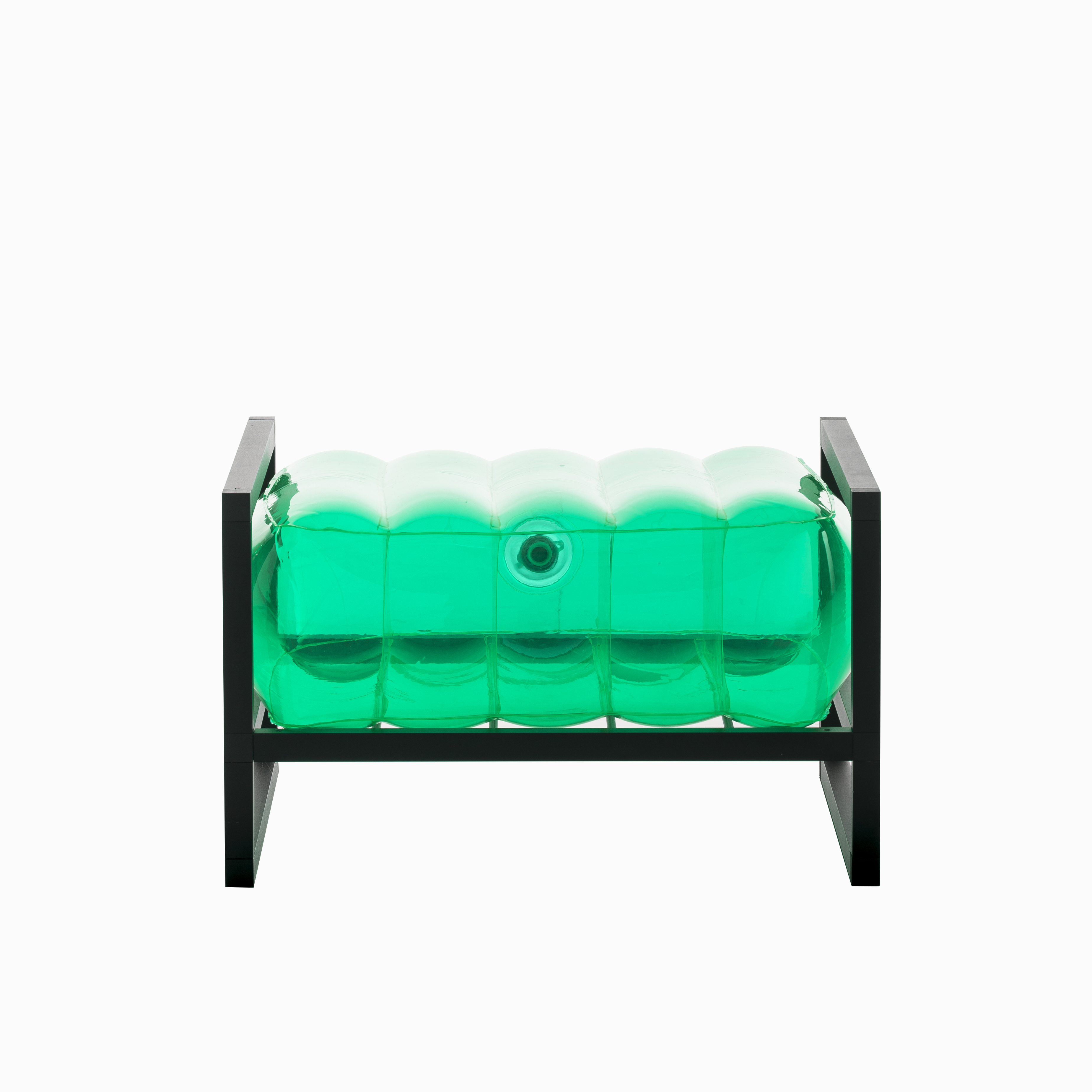 Pouf pvc vert cadre en aluminium