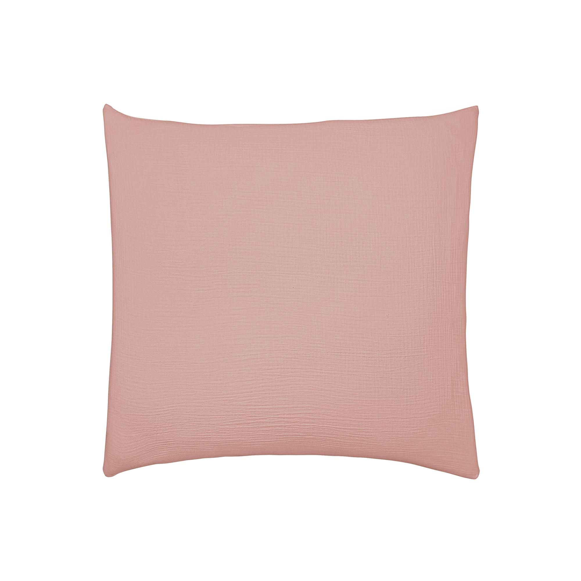 Taie d'oreiller unie en coton rose 65x65
