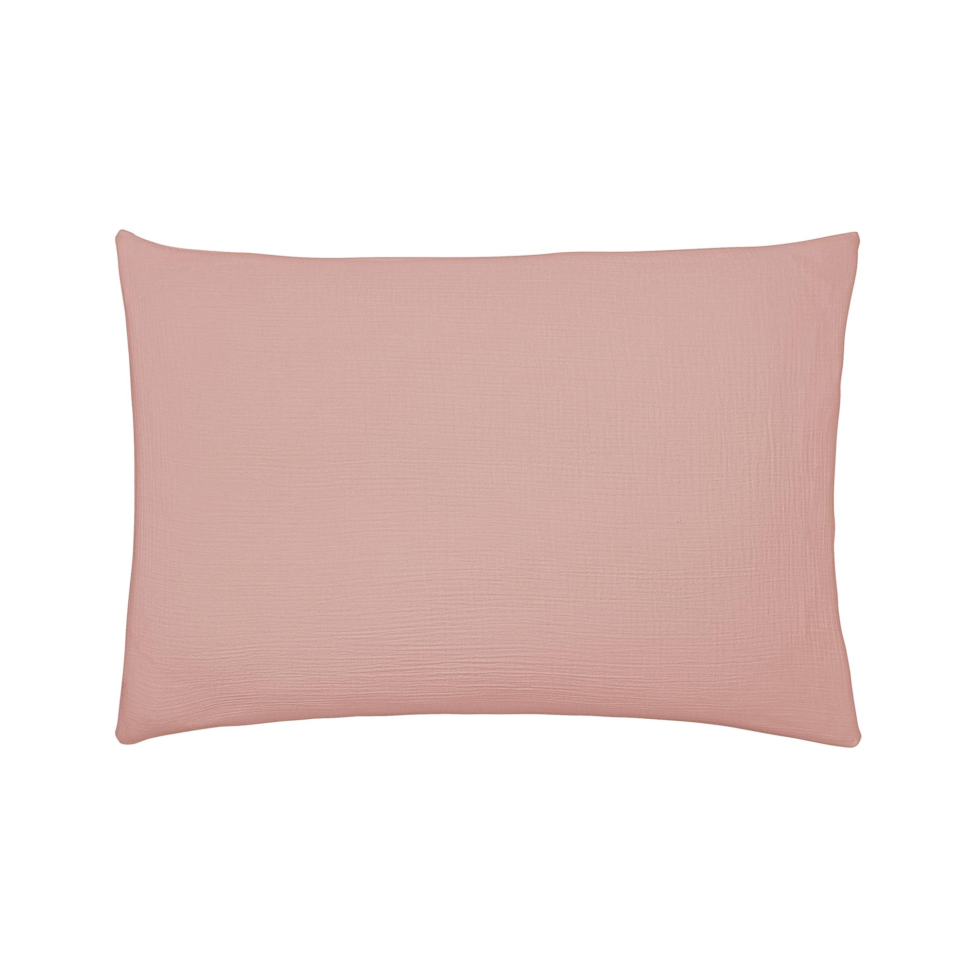 Taie d'oreiller unie en coton rose 50x75