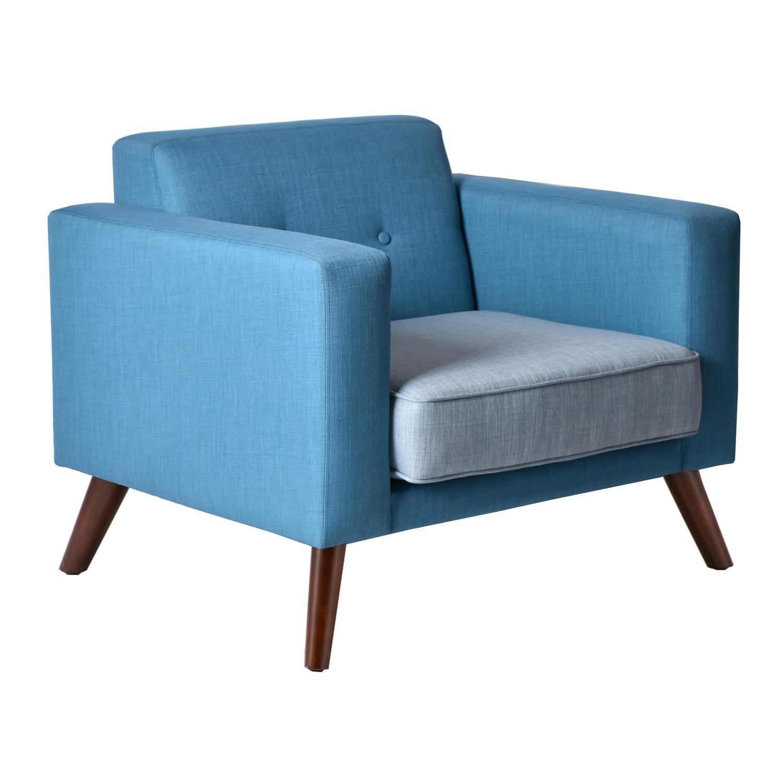 Fauteuil contemporain en tissu bleu
