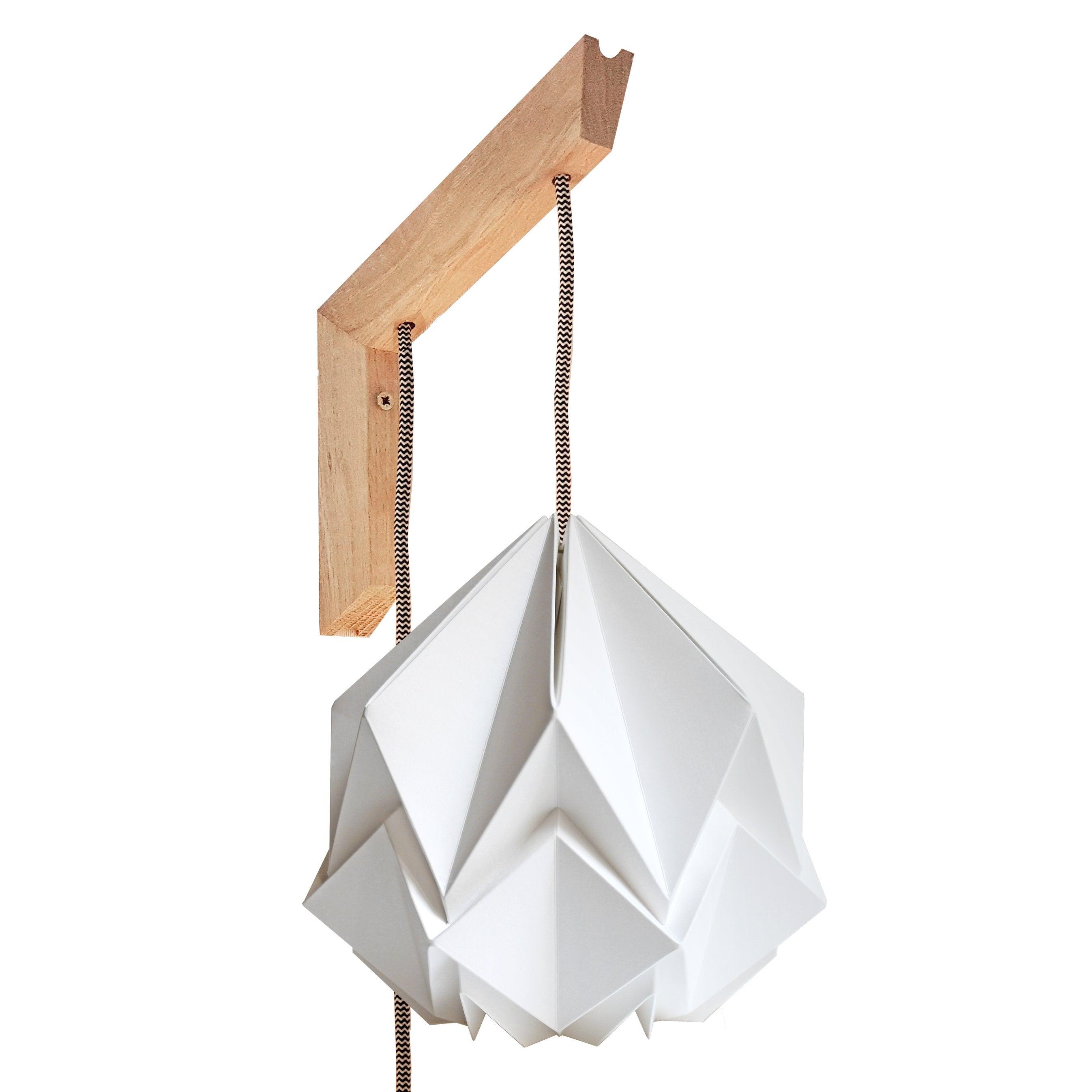 Applique murale bois et suspension origami design en papier