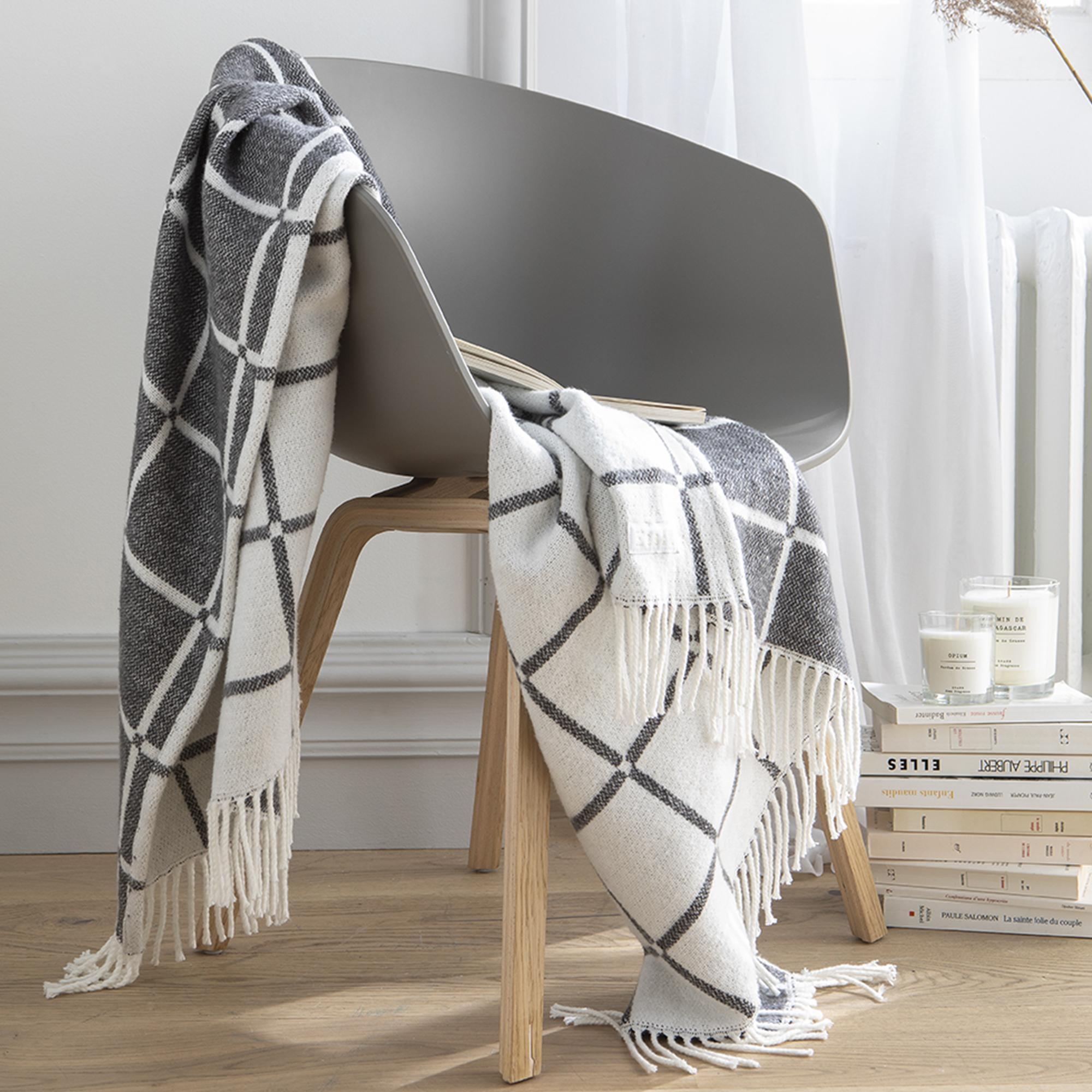 Plaid jacquard motif carreaux en coton gris 130x170