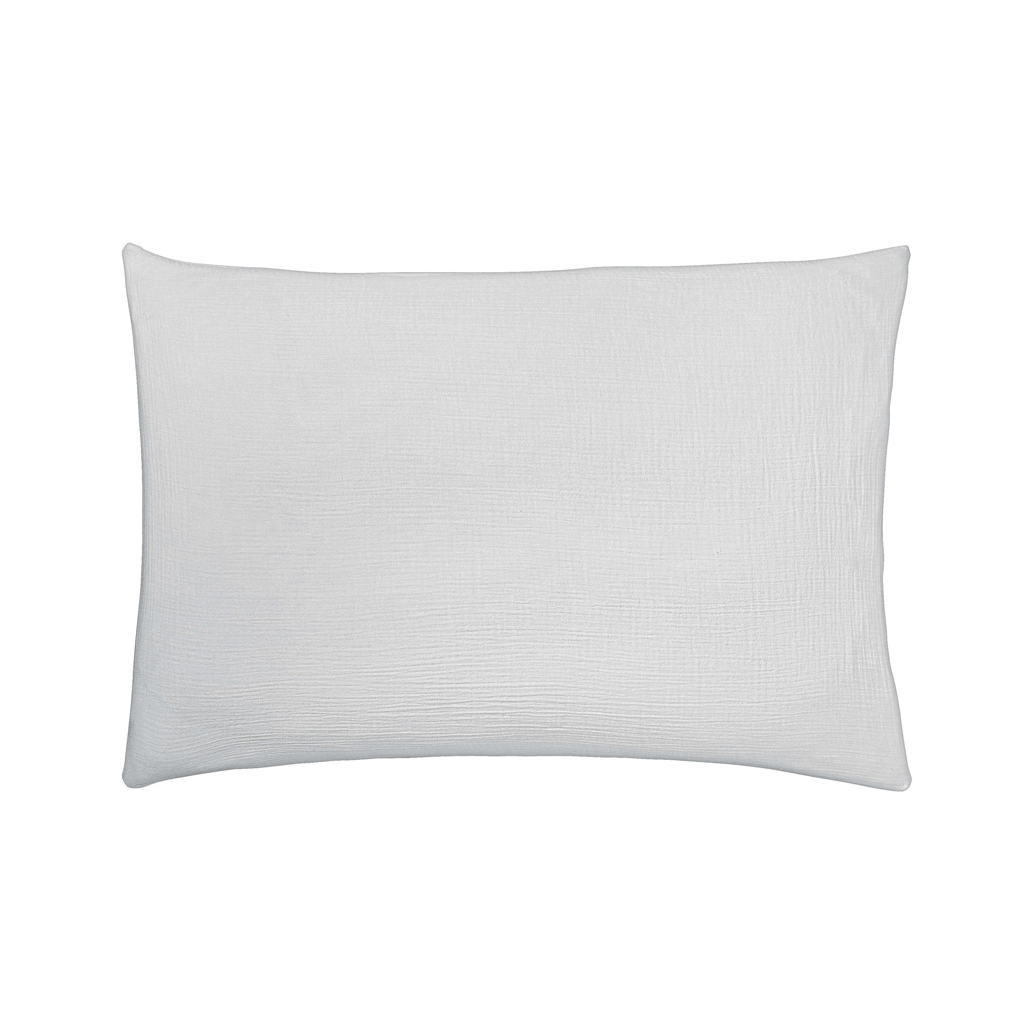 Taie d'oreiller rectangle brume en coton gris 50x75