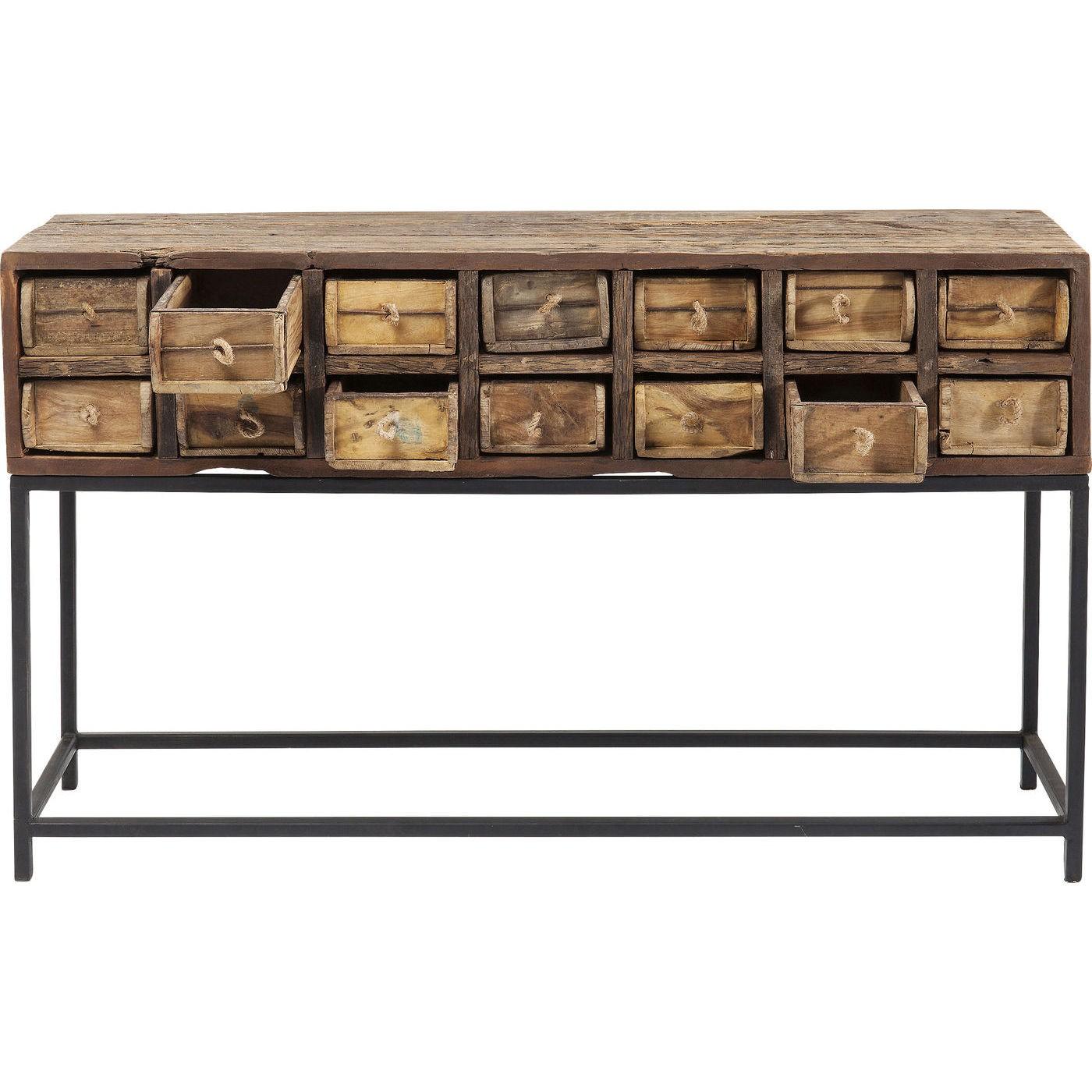 Console 14 tiroirs en bois recyclé et acier