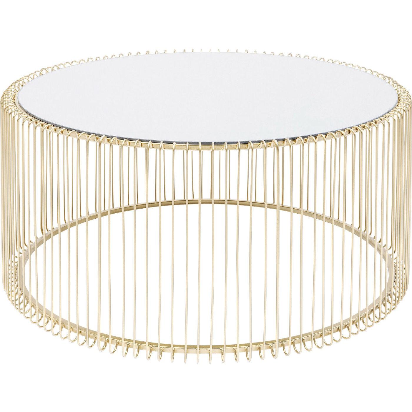 Table basse ronde en acier doré et verre miroir