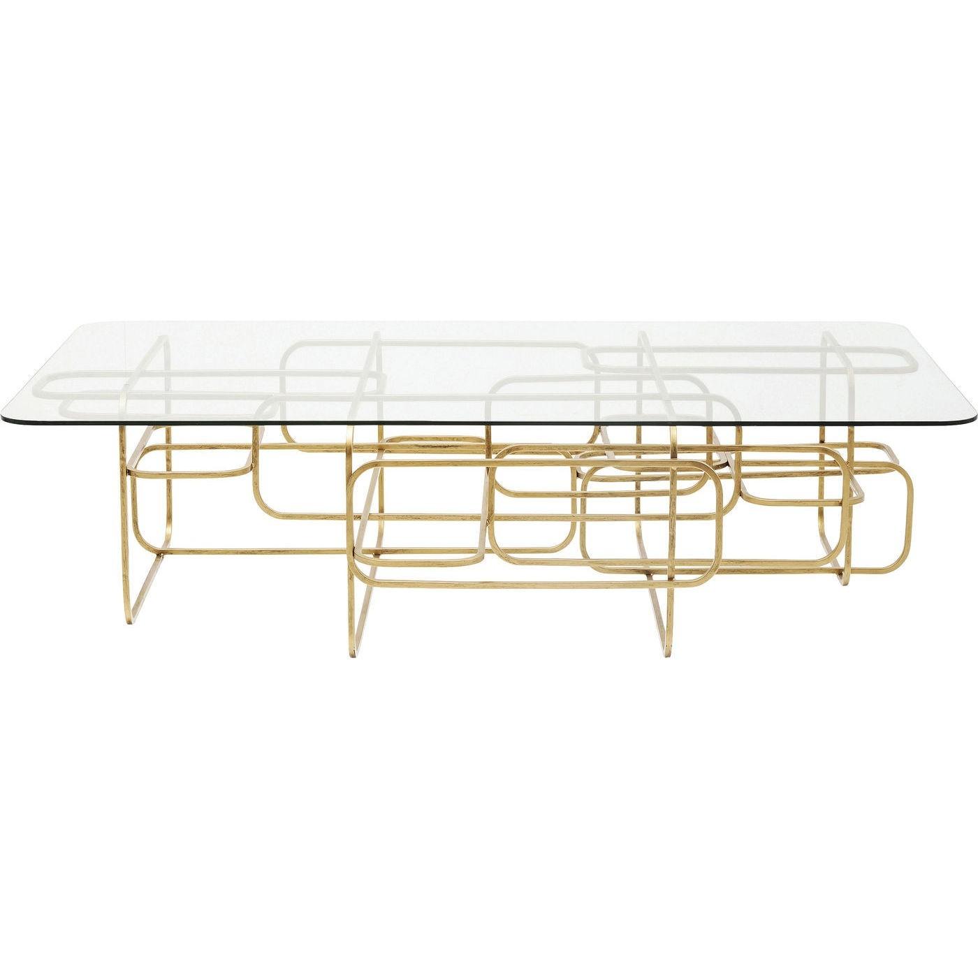 Table basse en acier doré et verre