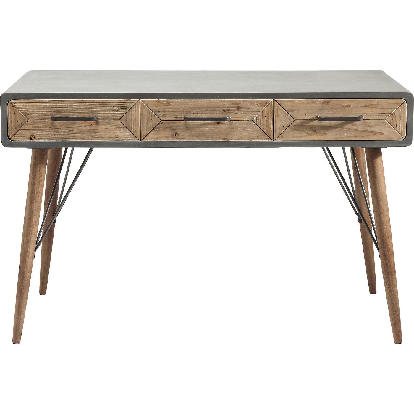 Bureau 3 tiroirs industriel en bois imitation béton gris