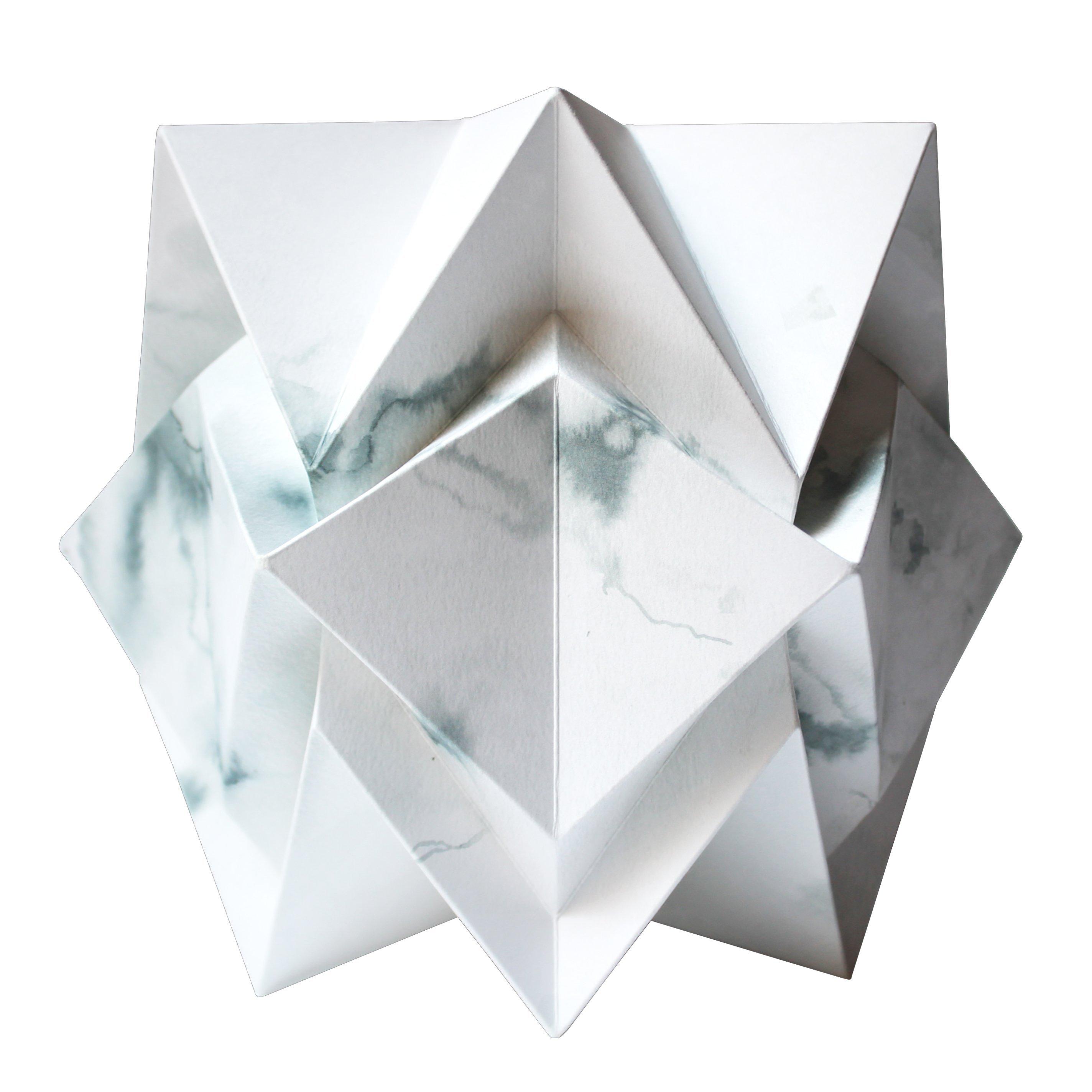 Lampe de table origami en papier motif hiver taille S