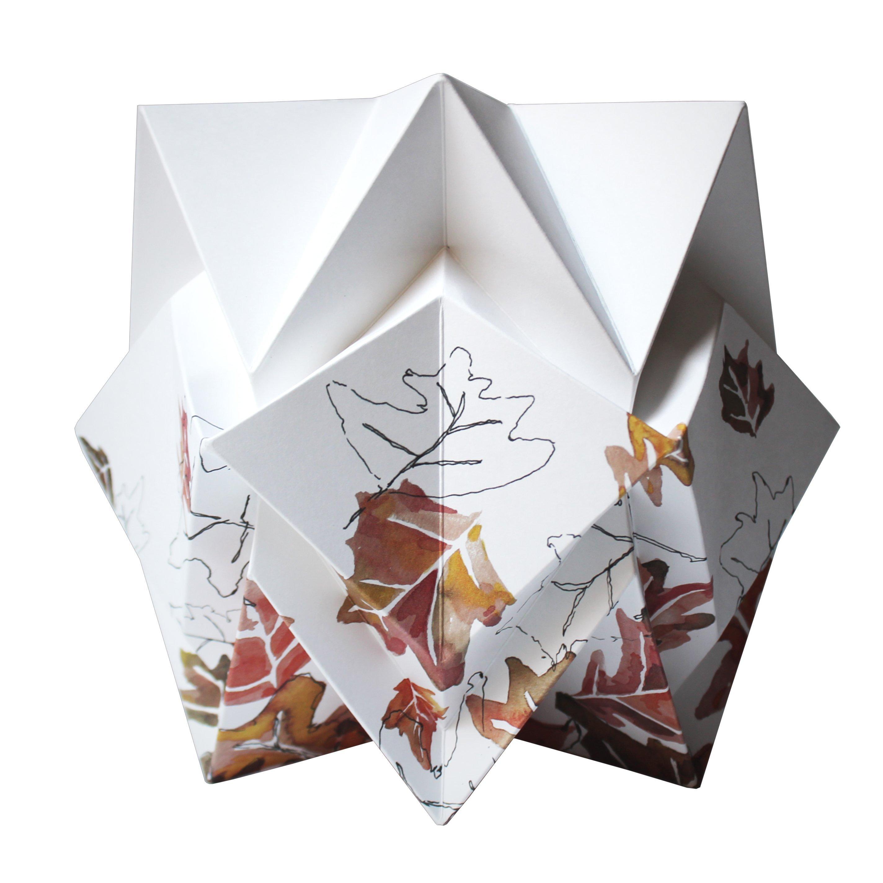 Lampe de table origami en papier motif automne taille S