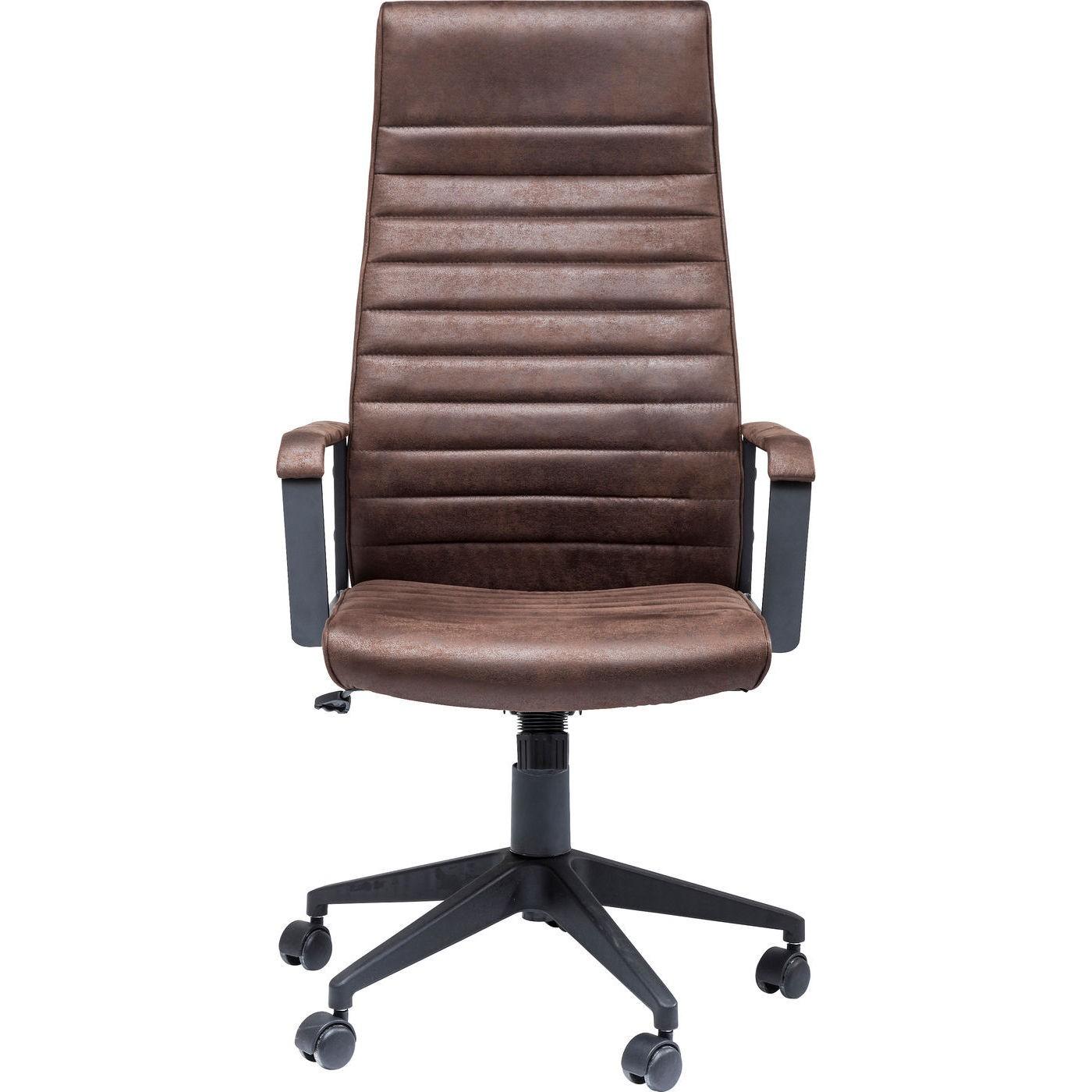 Chaise de bureau pivotante réglable à roulettes marron haute