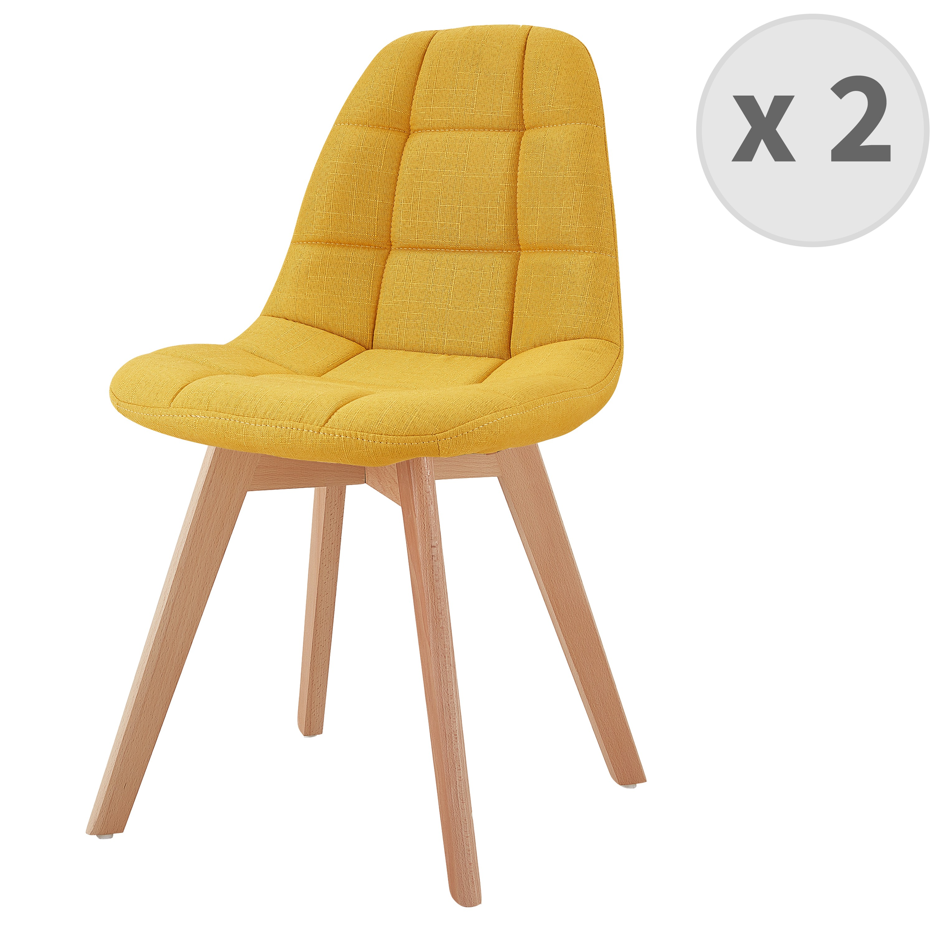 Chaise scandinave tissu curry pied hêtre (x2)