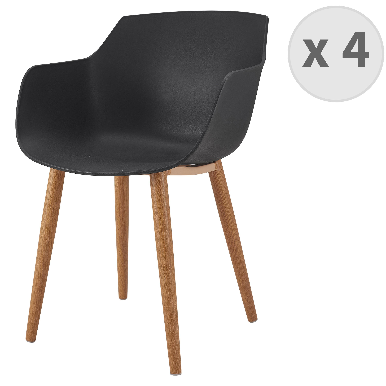 Chaise scandinave noir pied métal effet bois (x4)